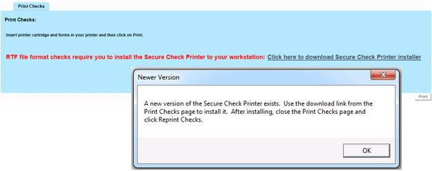If You See The Newer Version Pop Up Message Then Must Install Secure Check Printer Software So Click Link Here To Download